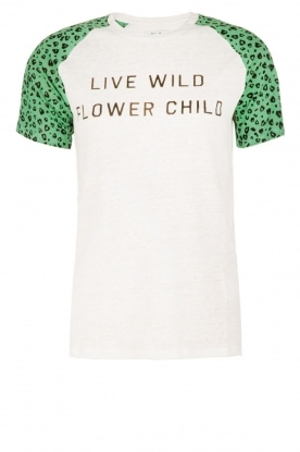 Zoe Karssen | Linnen T-shirt Flower Child | wit/groen