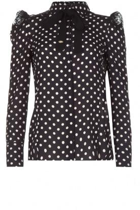 ELISABETTA FRANCHI | Gestipte blouse met kant | zwart