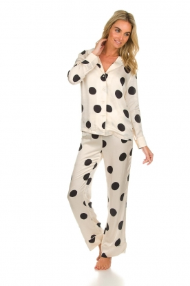 Love Stories |  Satin polkadot pyjama pants Billy | white