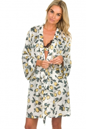 Love Stories |  Printed satin kimono gown Jolie | white