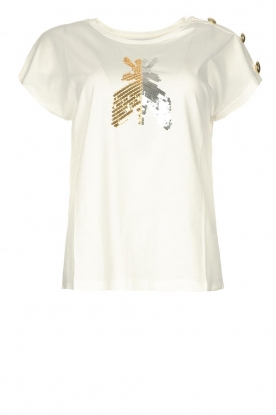 Patrizia Pepe | T-shirt with sequins Cato | white