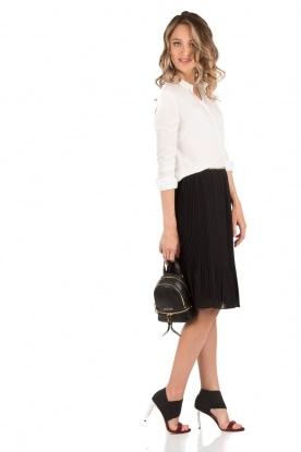 Leren Mini rugzak Rhea Zip | zwart