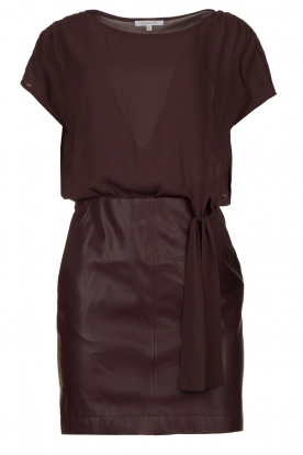 Patrizia Pepe |  Dress with faux leather skirt Rita | purple