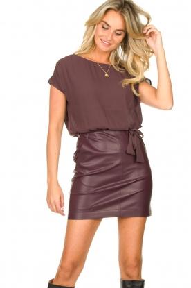 Patrizia Pepe |  Dress with faux leather skirt Rita | purple