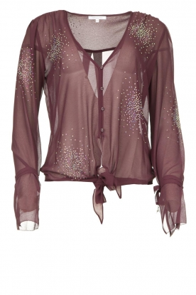 Patrizia Pepe | Blouse with rhinestones Rina | purple