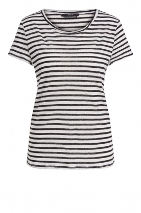 Set | Striped linen T-shirt Anna | black & white