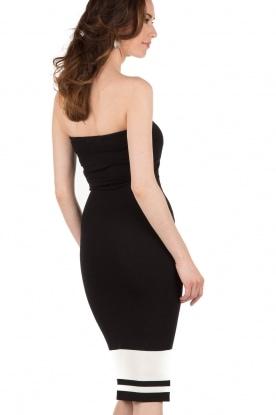 NIKKIE | Strapless jurk Juno Tube | zwartwit