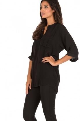 Zijden blouse Fan | zwart