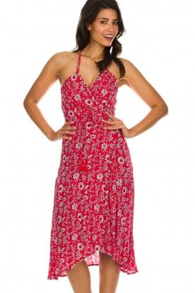 BEACHGOLD | Midi wikkeljurk met bloemenprint Picolo | rood