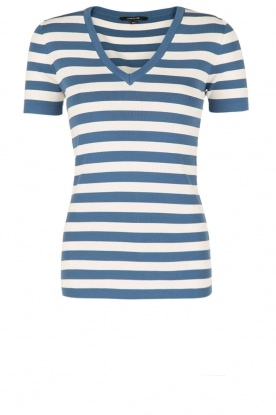 NIKKIE |  Stripes top V-neck Jolie | blue