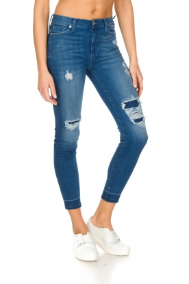7 For All Mankind | High waisted skinny jeans Unrolled | Blauw