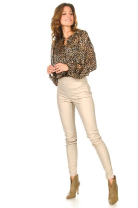 Knit-ted |  Faux leather leggings Amber | natural