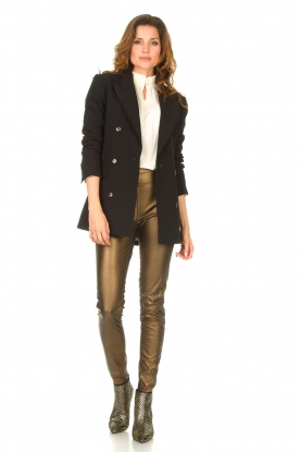Knit-ted |  Faux leather leggings Amber | metallic