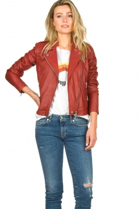 Set |  Leather biker jacket Allister | bordeaux