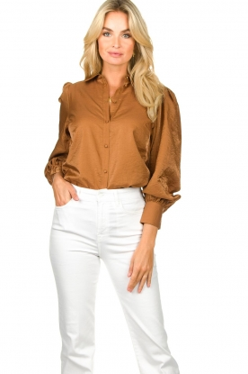 Dante 6 |  Balloon sleeve blouse Mauri | brown