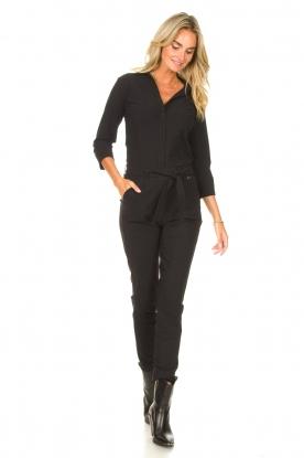 D-ETOILES CASIOPE    Travelwear pants with tie belt Antigua   black