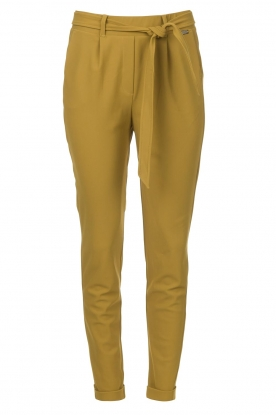 D-ETOILES CASIOPE |  Travelwear pants with tie belt Antigua | green