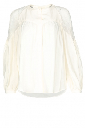 Sessun |  Blouse with embroidered details | broken white