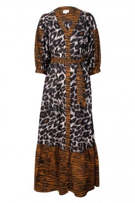 Dante 6 | Maxi dress with animal print Alma | brown