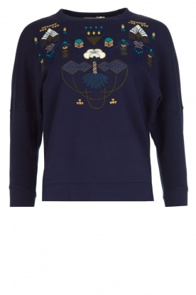 Sessun |  Sweater with embroidery Eko | dark blue