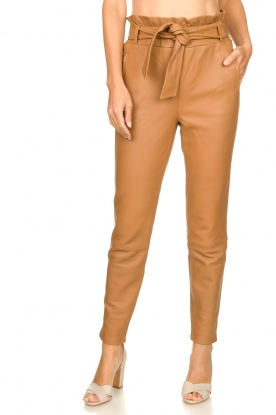 Dante 6 |  Leather paperbag pants Duncan | camel