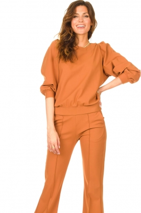 D-ETOILES CASIOPE |  Travelwear sweater with puff sleeves Barbados | camel