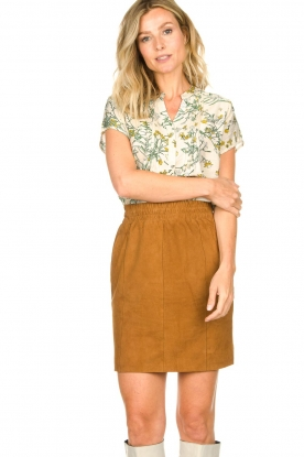 Dante 6 |  Leather skirt with seams Eshvi | camel