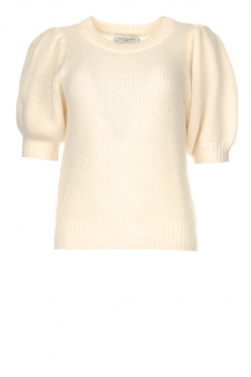 Copenhagen Muse |  Knitted top with puff sleeves Diva | creme