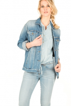 7 For All Mankind | Denim Trucker jas Victoria | blauw