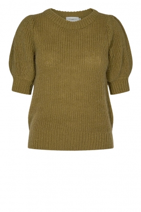 Copenhagen Muse |  Knitted top with puff sleeves Diva | green
