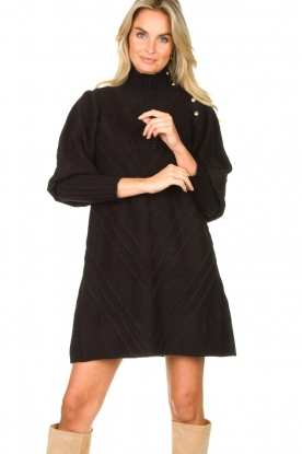 Silvian Heach |  Knitted balloon sleeve dress Maverix | black