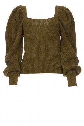 Copenhagen Muse |  Knitted sweater with puff sleeves Alpaca | groen