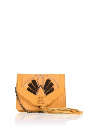Leather shoulder bag Adalie | mosterd yellow