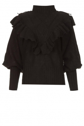Silvian Heach |  Knitted turtleneck sweater with ruffles Ribbar | black