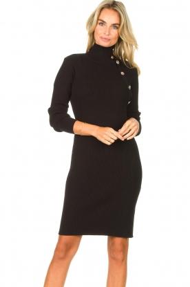 Silvian Heach | Midi-jurk met knoopdetails Pueblo | zwart