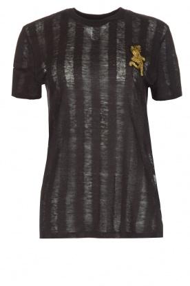 Zoe Karssen | T-shirt Climbing Leopard | zwart