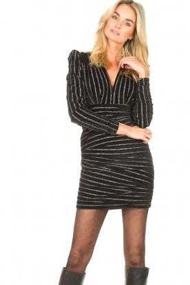Silvian Heach |  Dress with lurex stripes Lakit | black