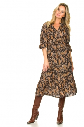 Les Favorites |  Paisly printed midi dress Ella | brown
