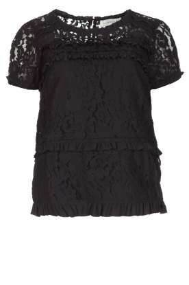 Rosemunde |  Lace top with ruffles | black