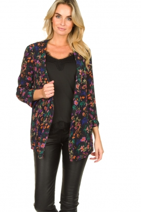 Les Favorites | Blazer-vest met bloemenprint Fancy | zwart