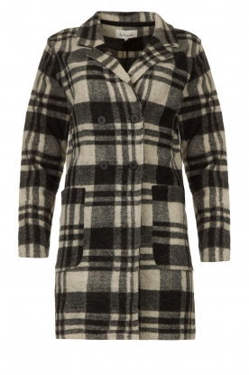 Les Favorites | Checkered coat Kris | grey