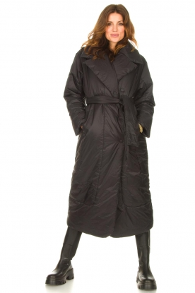 Second Female |  Puffer jacket with matching waistbelt Eva | black