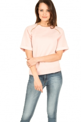 Hunkydory | Fleece trui Leah | roze