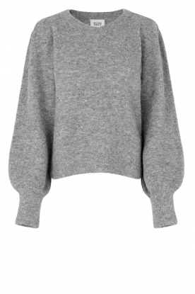 Second Female |  Knitted sweater with puff sleeves Kalliroi | grey