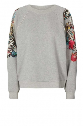 Lolly's Laundry |  Sweater with decorated sleeves Tate | grey