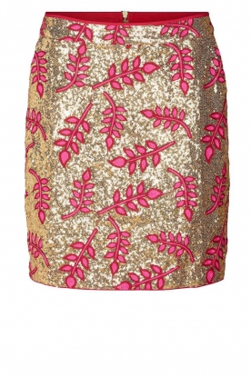 Lolly's Laundry |  Sequins mini skirt with print Aqua | pink