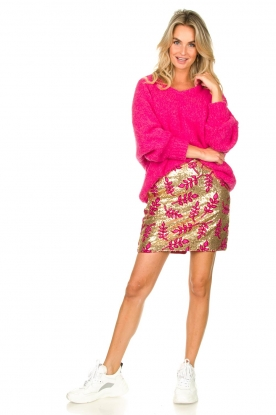 Look Sequins mini skirt with print Aqua