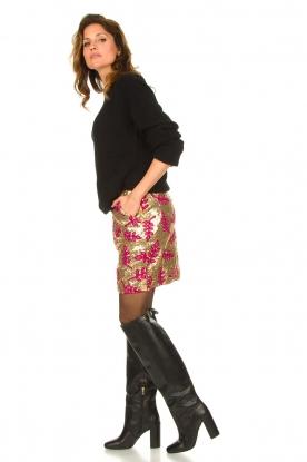 Look Sequins mini skirt with print Aqua