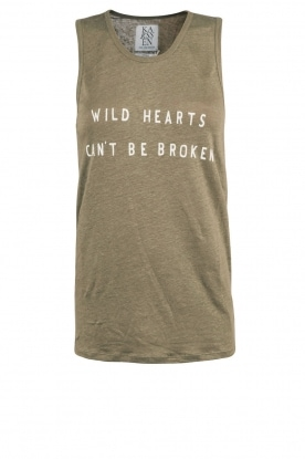 Linen tanktop Wild Hearts | army green