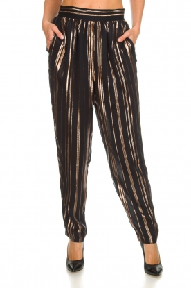 IRO |  Trousers with gold striped True Love | black